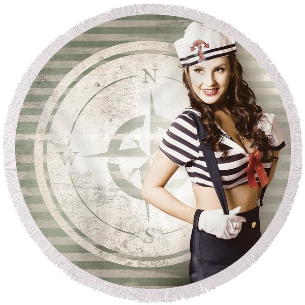 Young Sailor Pin Up Girl On Travel Cruise Compass Round Beach Towel