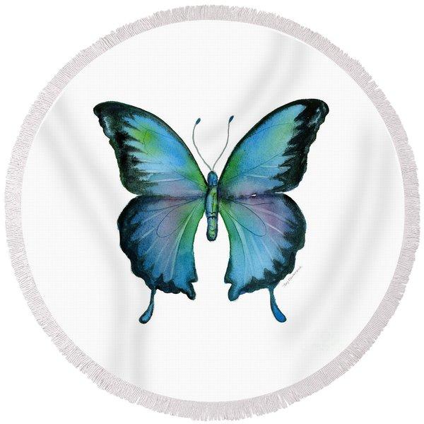 12 Blue Emperor Butterfly Round Beach Towel