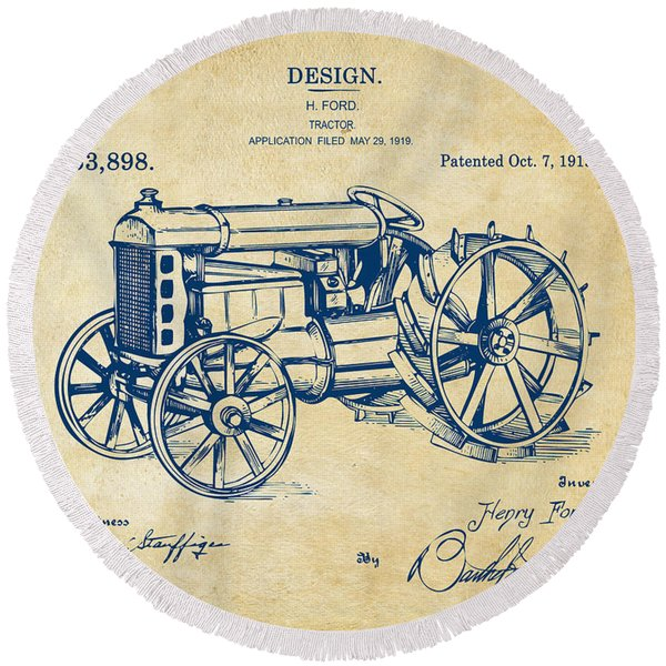 1919 Henry Ford Tractor Patent Vintage Round Beach Towel