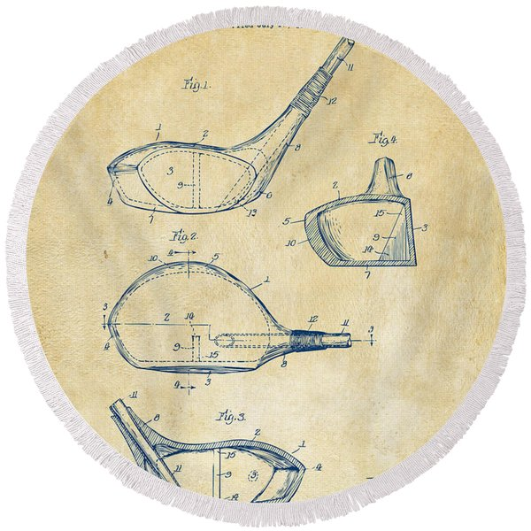 1926 Golf Club Patent Artwork - Vintage Round Beach Towel