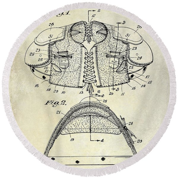 1929 Football Shoulder Pads Patent Drawing Round Beach Towel