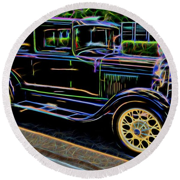 1929 Ford Model A - Antique Car Round Beach Towel