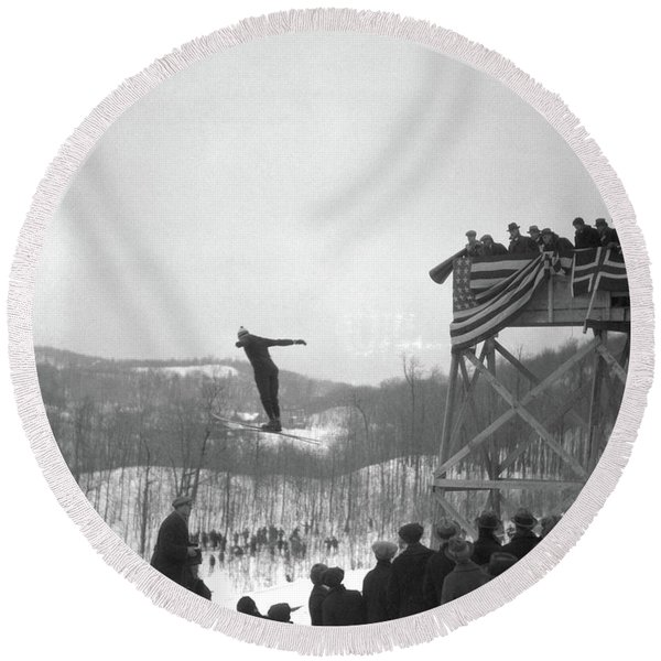 1930s Man Ski Jumping In Mid Air Crowd Round Beach Towel