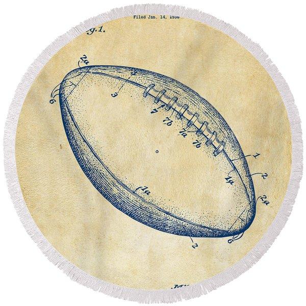1939 Football Patent Artwork - Vintage Round Beach Towel