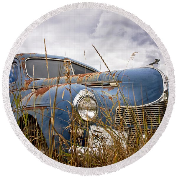 Round Beach Towel featuring the photograph 1940 Dodge 4 Door Luxury Liner by Mary Lee Dereske