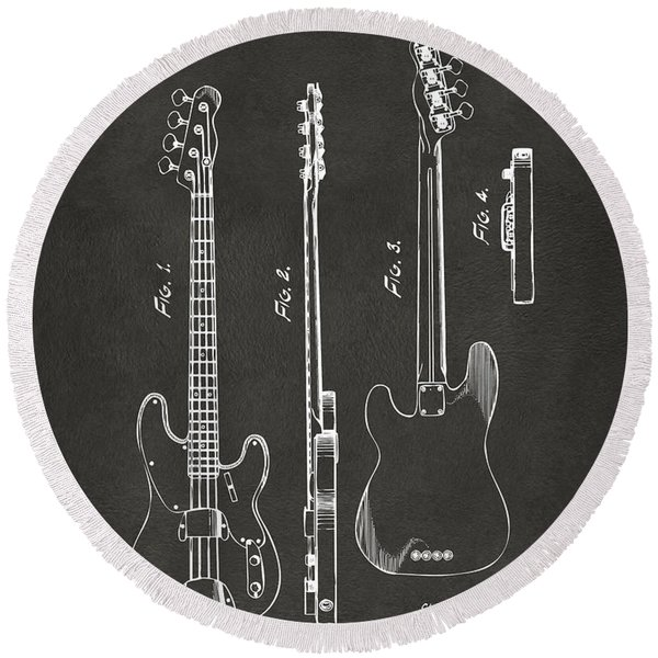 1953 Fender Bass Guitar Patent Artwork - Gray Round Beach Towel