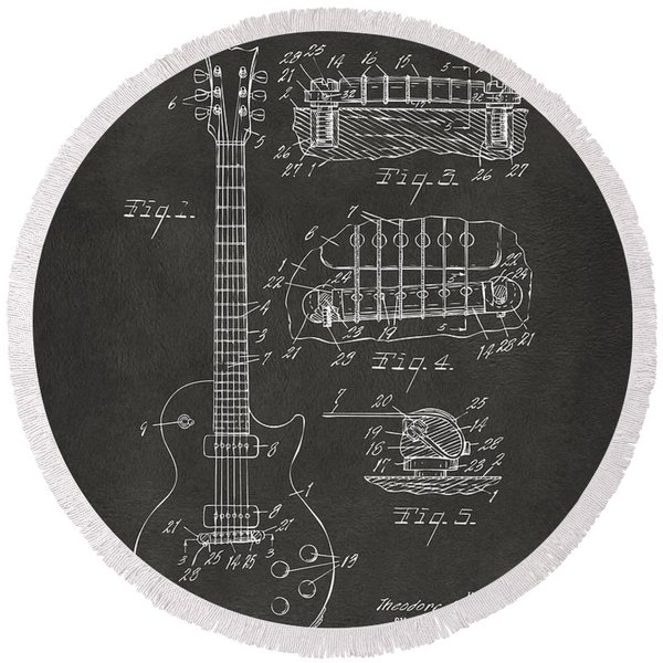 1955 Mccarty Gibson Les Paul Guitar Patent Artwork - Gray Round Beach Towel