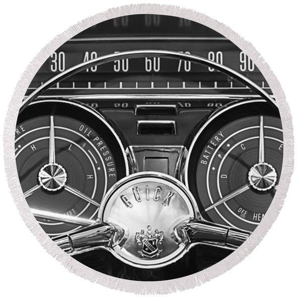 1959 Buick Lasabre Steering Wheel Round Beach Towel