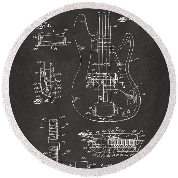 1961 Fender Guitar Patent Artwork - Gray Round Beach Towel
