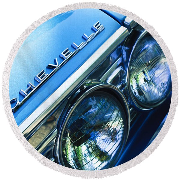 1967 Chevrolet Chevelle Malibu Head Light Emblem Round Beach Towel