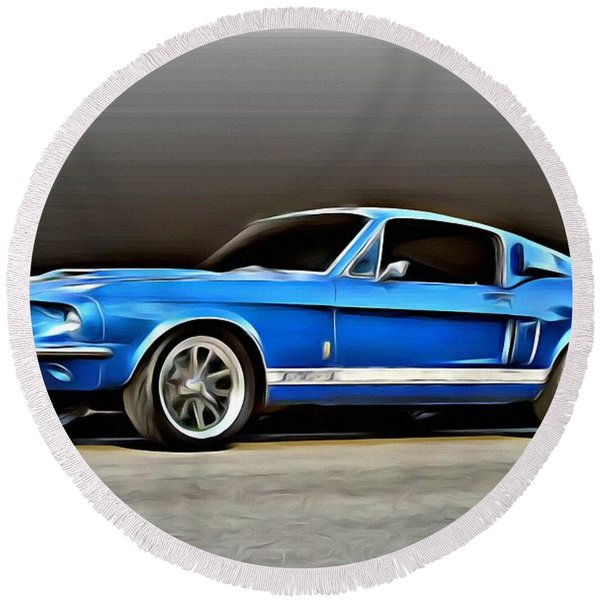 1967 Shelby Mustang Gt500 Round Beach Towel