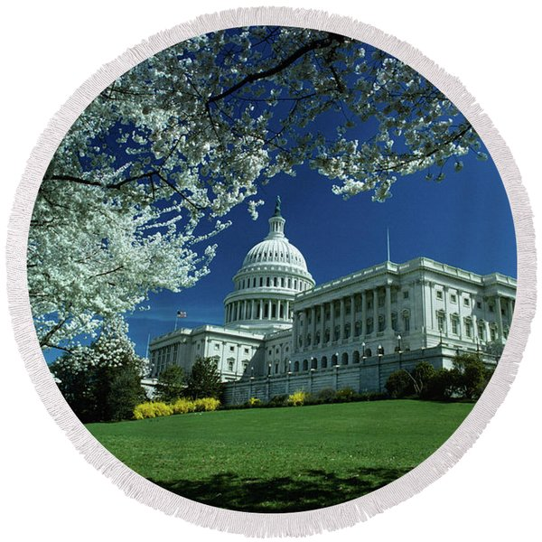 1970s Capitol Building Blossoming Tree Round Beach Towel