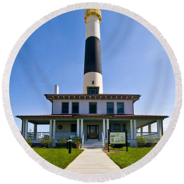 Absecon Lighthouse Round Beach Towel