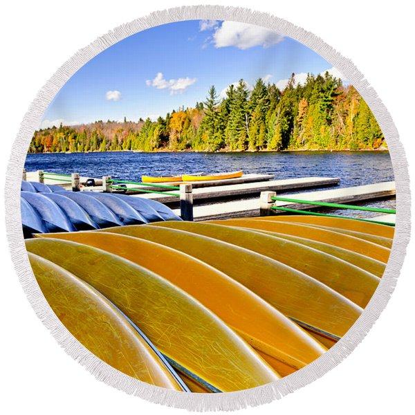 Canoes On Autumn Lake Round Beach Towel
