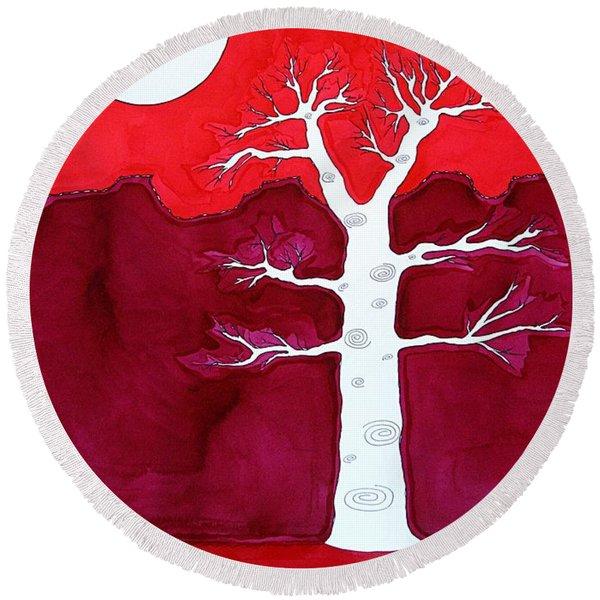 Canyon Tree Original Painting Round Beach Towel