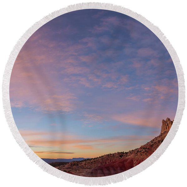 Clouds Over The Circle Cliffs Near Long Round Beach Towel