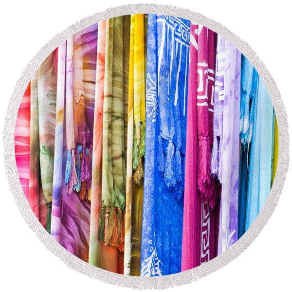 Colorful Cloths Round Beach Towel