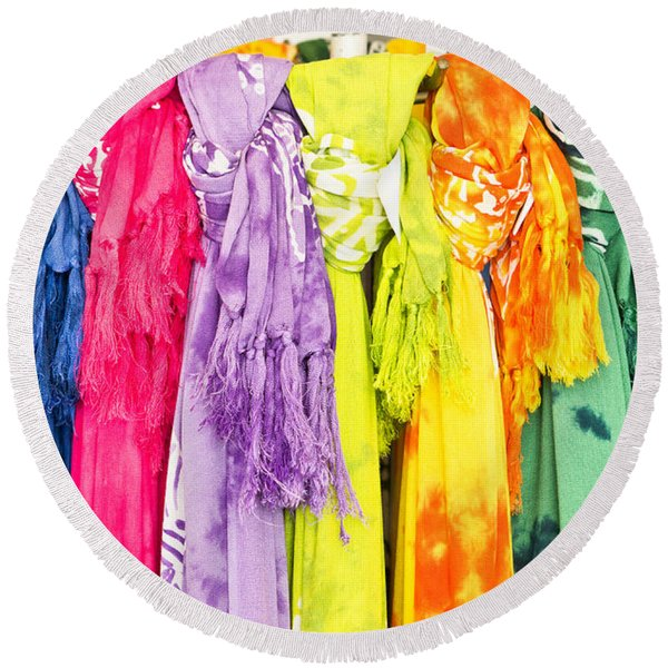 Colorful Scarves Round Beach Towel