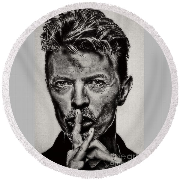 David Bowie - Pencil Abstract Round Beach Towel