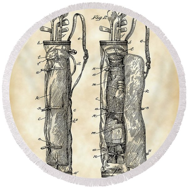 Golf Bag Patent 1905 - Vintage Round Beach Towel