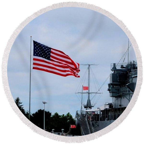 Naval Park And Museum Round Beach Towel