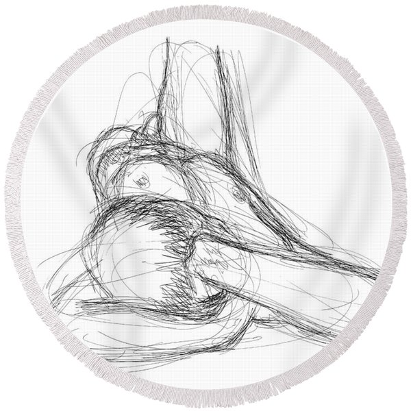 Nude Male Sketches 2 Round Beach Towel
