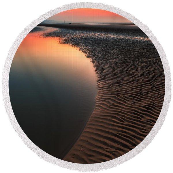 Seascape Sunset Round Beach Towel
