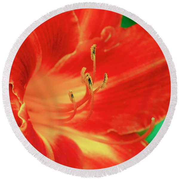 Red, Orange And Yellow Lily Round Beach Towel