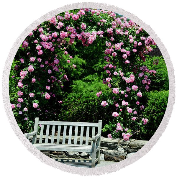 Pink Rose Garden Round Beach Towel