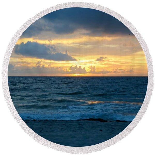Sunrise In Deerfield Beach Round Beach Towel