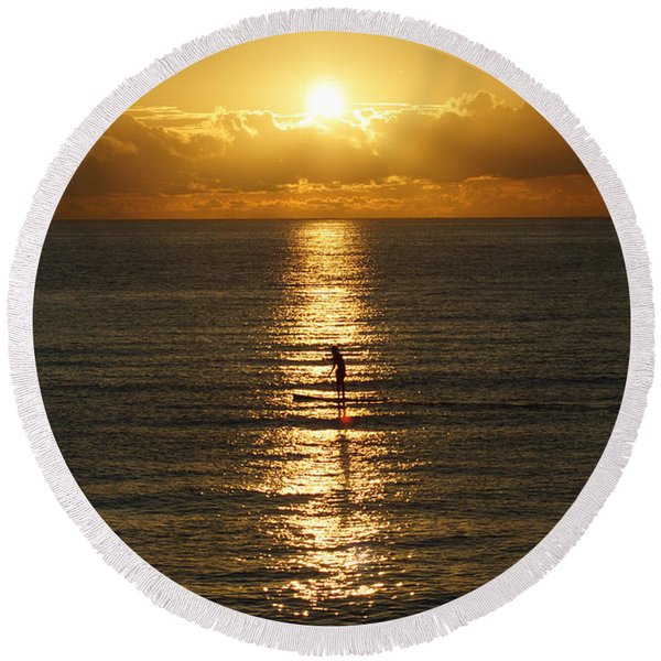 Sunrise In Florida Riviera Round Beach Towel