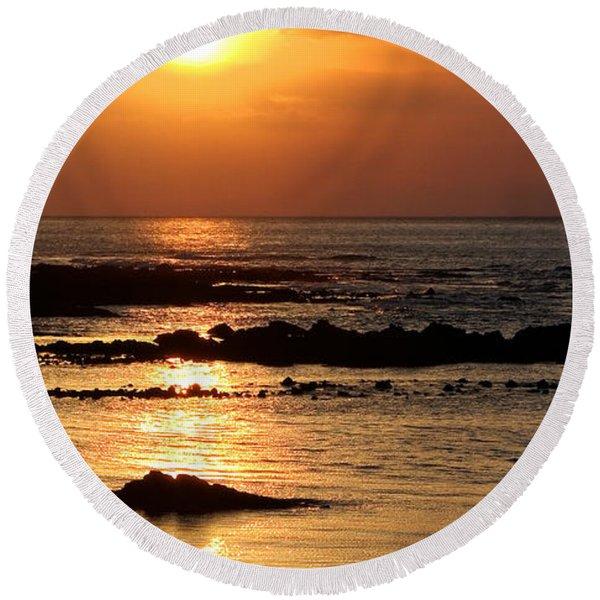 Waikoloa Sunset Round Beach Towel