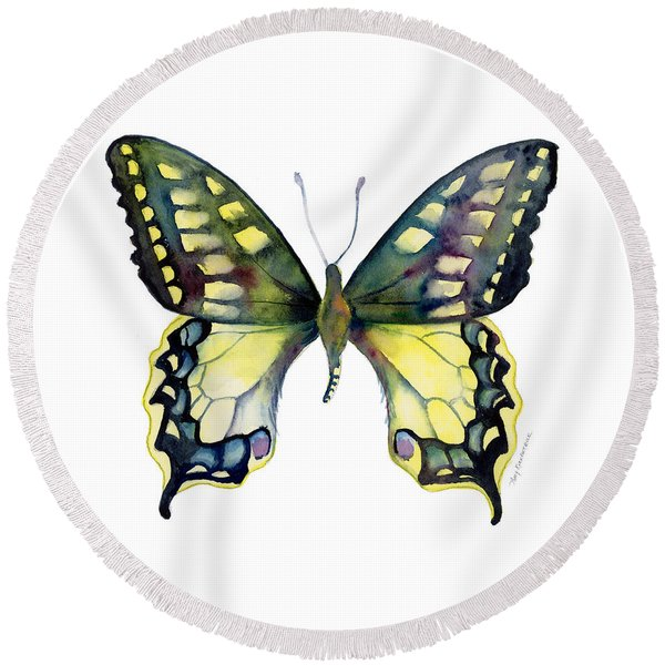 20 Old World Swallowtail Butterfly Round Beach Towel