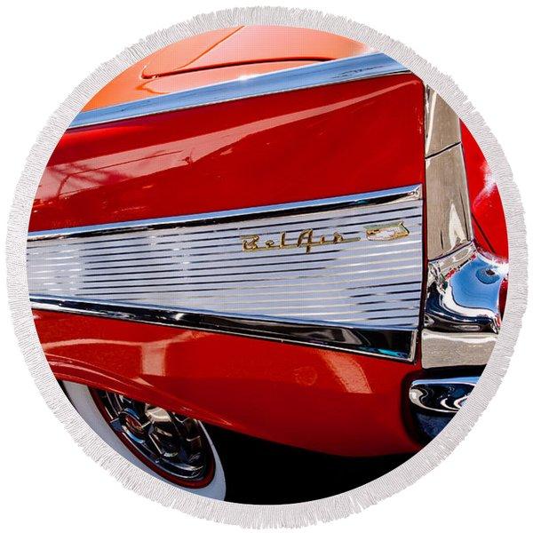 1957 Chevy Bel Air Custom Hot Rod Round Beach Towel