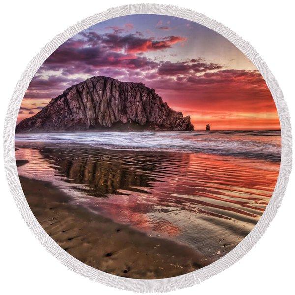 Crimson Sunset Round Beach Towel