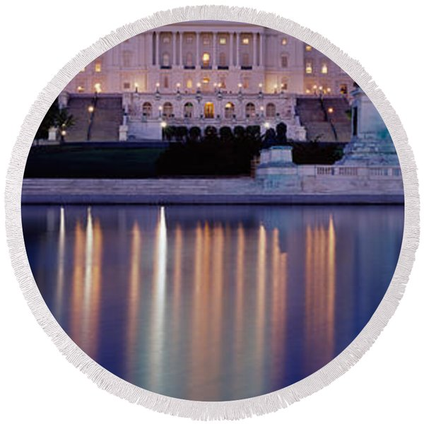Reflection Of A Government Building Round Beach Towel