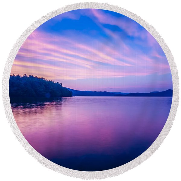 Sunset During Blue Hour At The Lake Round Beach Towel