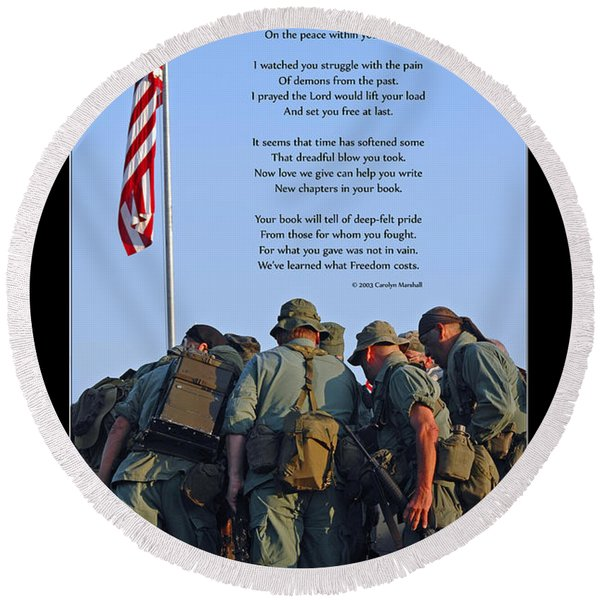 Round Beach Towel featuring the photograph Veterans Remember by Carolyn Marshall
