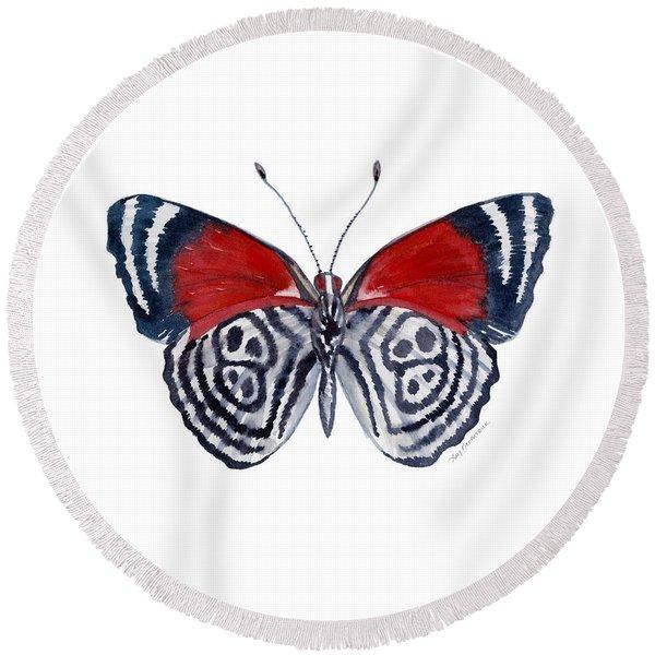 37 Diathria Clymena Butterfly Round Beach Towel