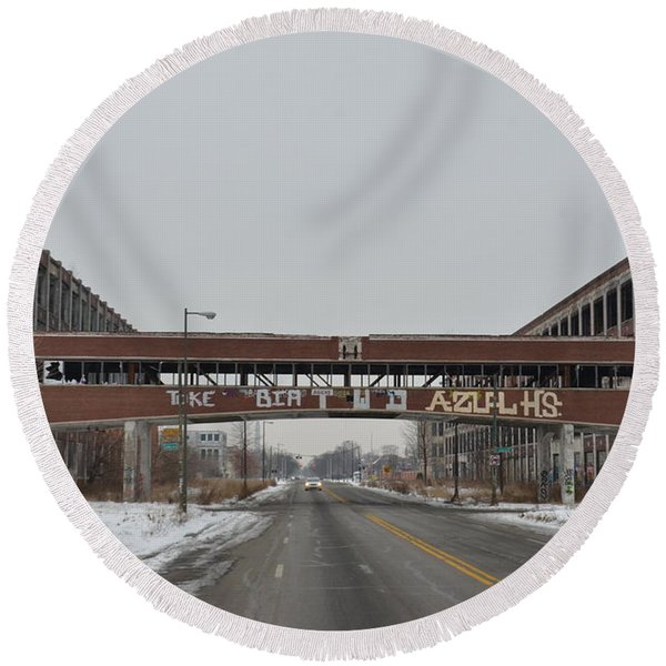 Detroit Packard Plant Round Beach Towel