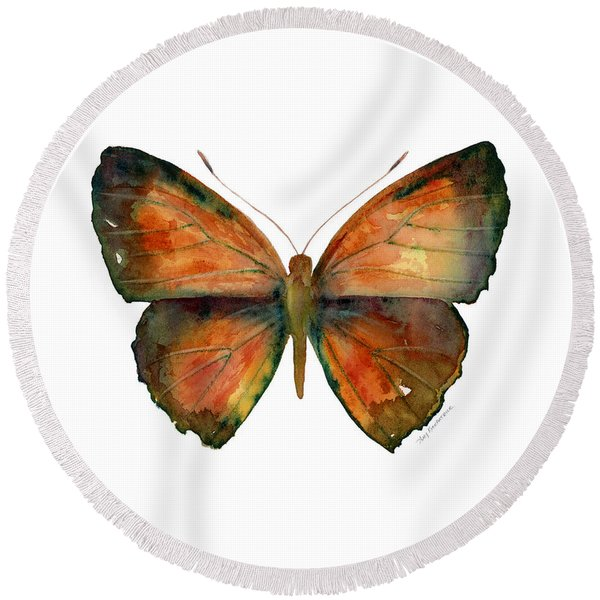 56 Copper Jewel Butterfly Round Beach Towel