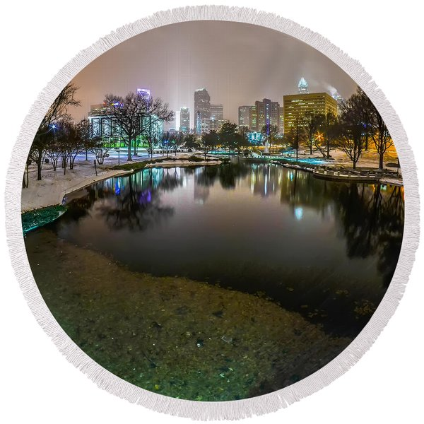 Charlotte Nc Skyline Covered In Snow In January 2014 Round Beach Towel