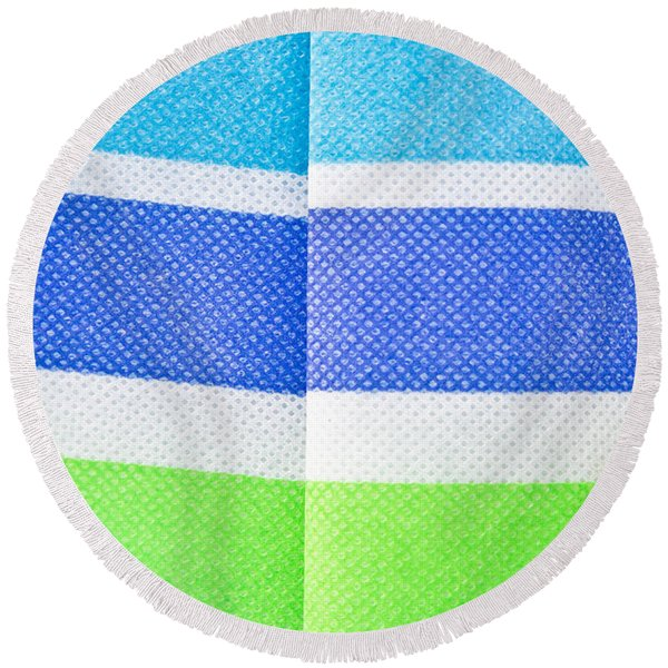 Striped Material Round Beach Towel