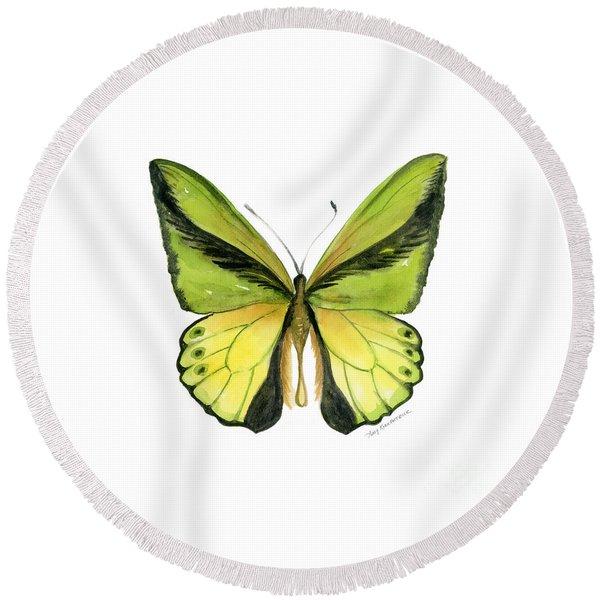 8 Goliath Birdwing Butterfly Round Beach Towel
