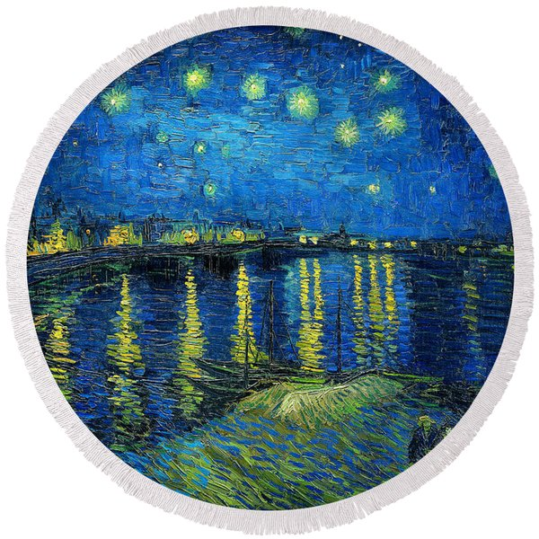 Starry Night Over The Rhone Round Beach Towel