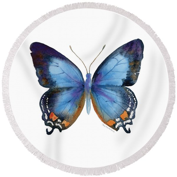 80 Imperial Blue Butterfly Round Beach Towel