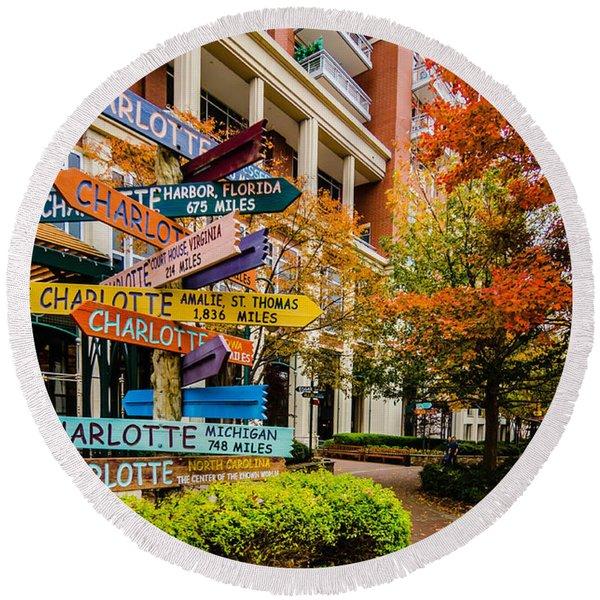 Charlotte City Skyline Autumn Season Round Beach Towel