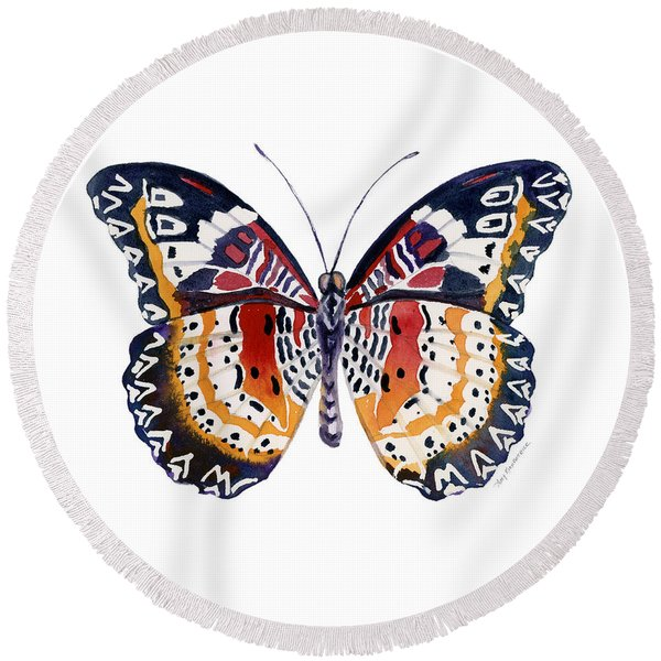94 Lacewing Butterfly Round Beach Towel
