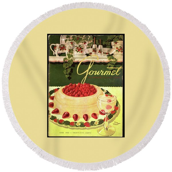 A Blancmange Ring With Strawberries Round Beach Towel