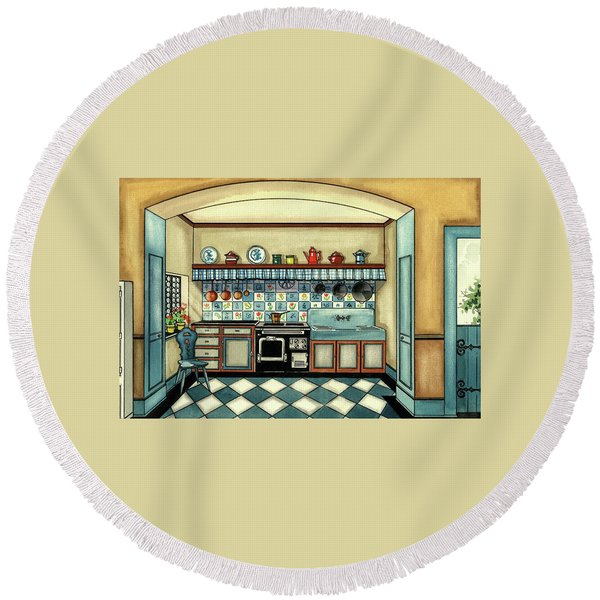 A Blue Kitchen With A Tiled Floor Round Beach Towel